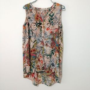 Spense Peacock Floral design Tunic Top